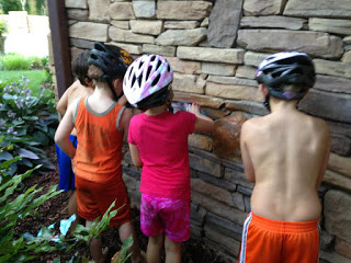 {…and yes, they're scrubbing in bike helmets; that's a whole 'nother story}